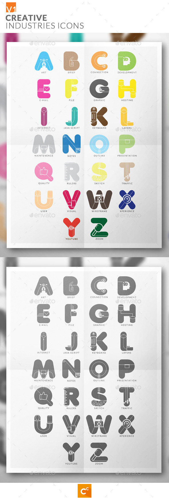 GraphicRiver Alphabet Creative Industries Icons 11269844