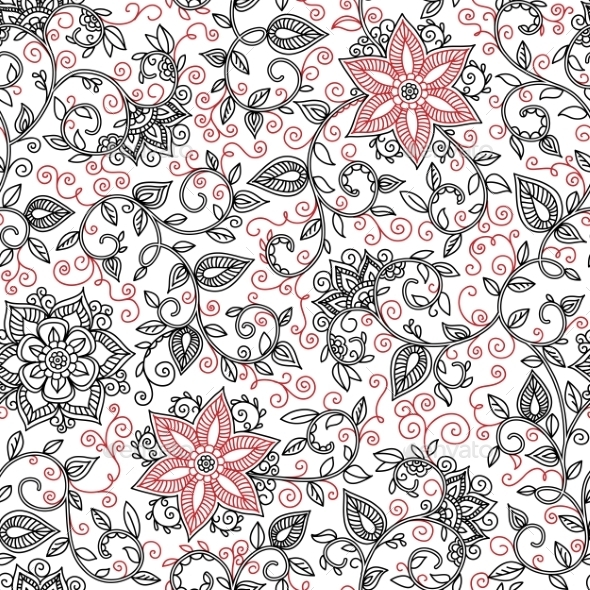 GraphicRiver Vector Seamless Black And Red Floral Pattern 11270073