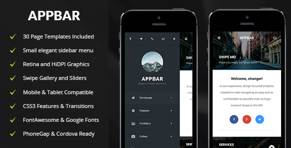 ThemeForest AppBar Mobile & Tablet Responsive Template 11270109