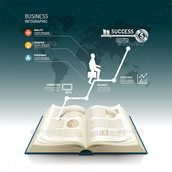 GraphicRiver Open Book Infographic Business Step Paper Graph 11270701