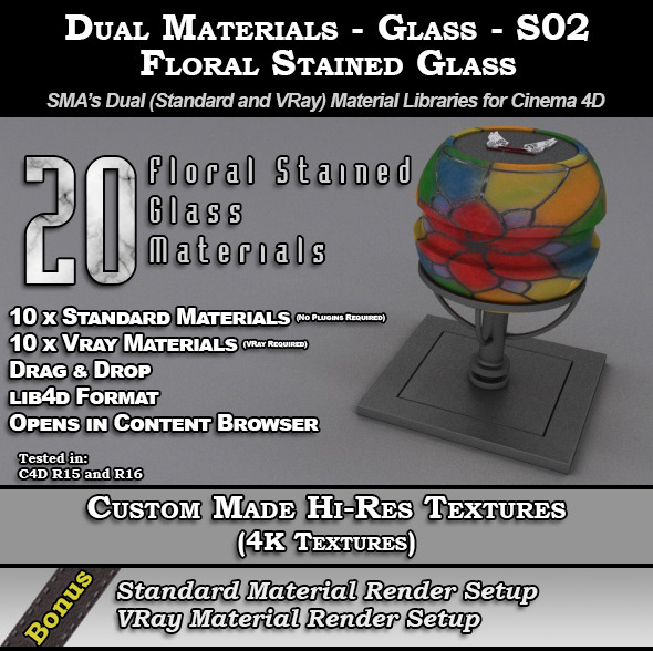 3DOcean SMA s Dual Materials Glass S02 Floral 11271047