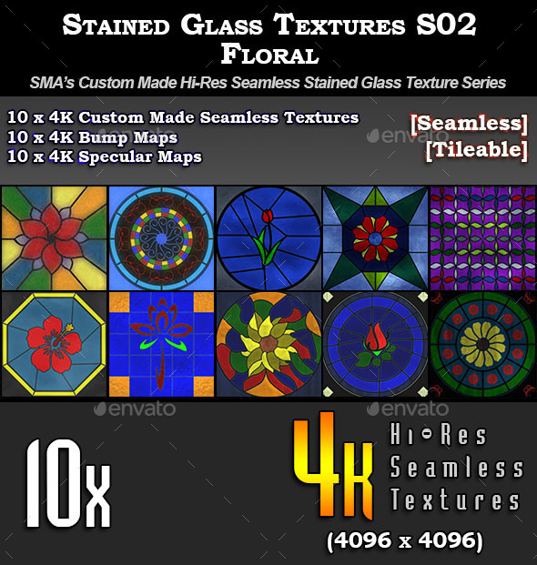 3DOcean Hi-Res Stained Glass Textures S02 Floral 11271229