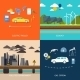 Power Plant. Electric Cars And Petrol Car - GraphicRiver Item for Sale