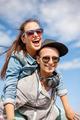 smiling teenagers in sunglasses having fun outside - PhotoDune Item for Sale