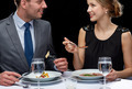 close up of couple talking at restaurant - PhotoDune Item for Sale