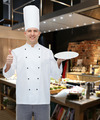 happy male chef cook showing thumbs up and plate - PhotoDune Item for Sale