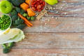 close up of ripe vegetables on wooden table - PhotoDune Item for Sale