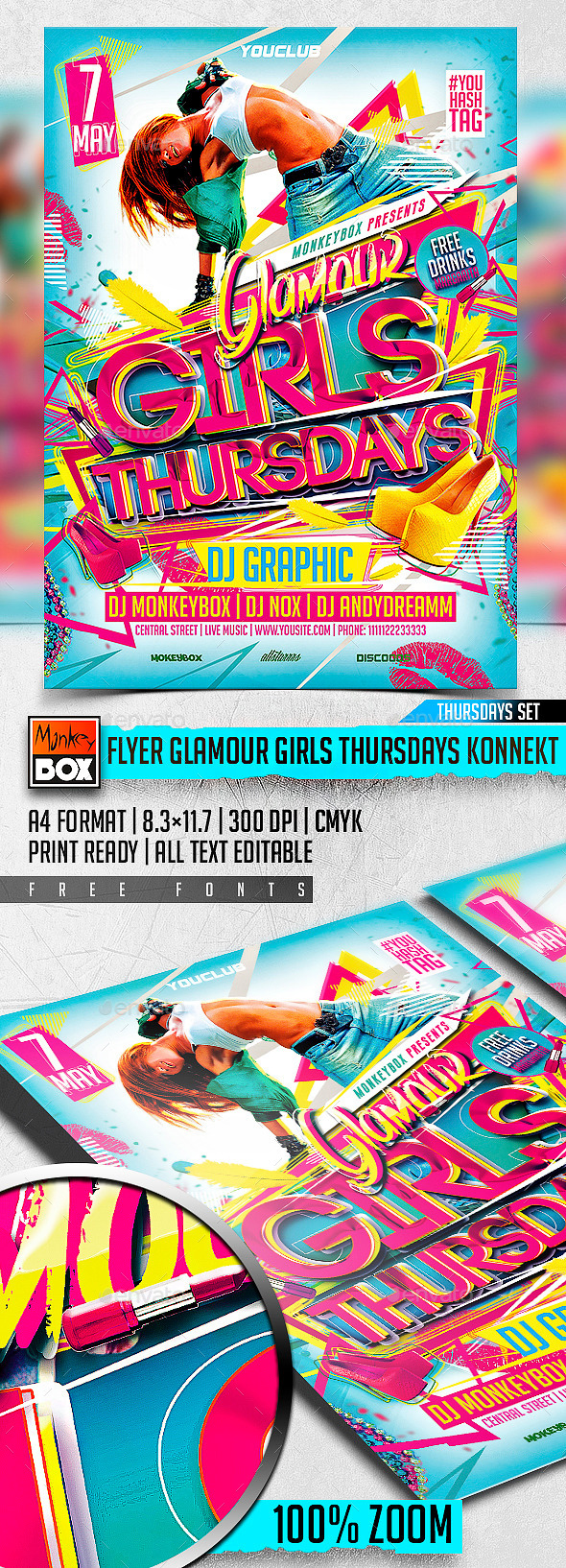 GraphicRiver Flyer Glamour Girls Thursdays Konnekt 11271895