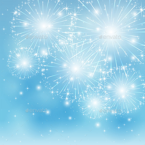 GraphicRiver Blue Fireworks Background 11272057