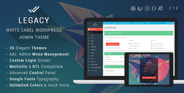 CodeCanyon Legacy White label WordPress Admin Theme 11272219