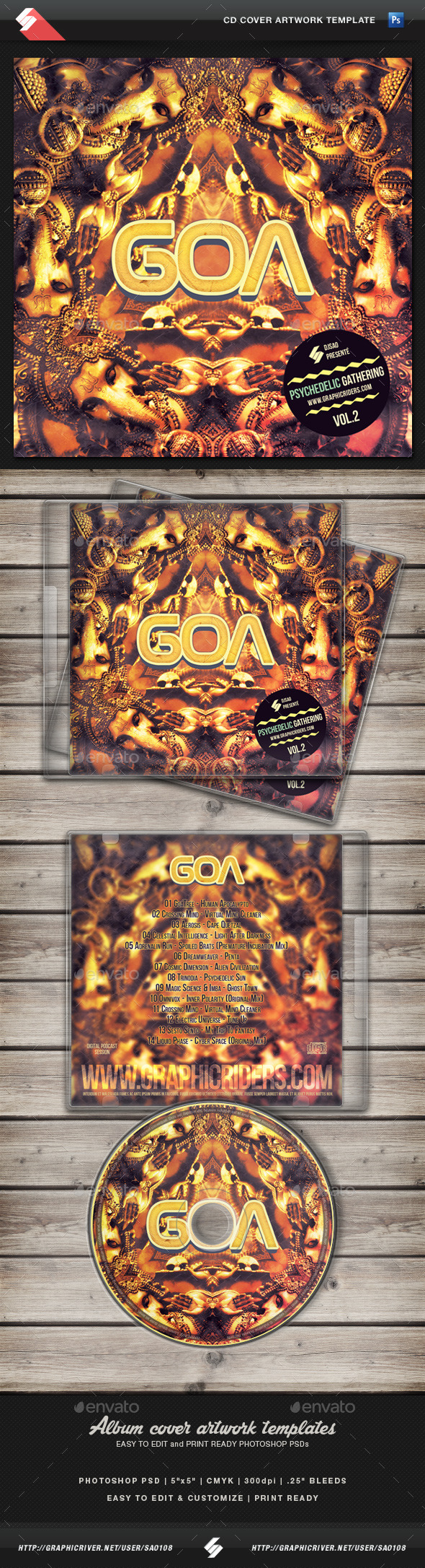GraphicRiver Goa Trance volume 2 CD Cover Artwork Template 11272735