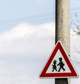 road sign with warning - protection of children near school - PhotoDune Item for Sale