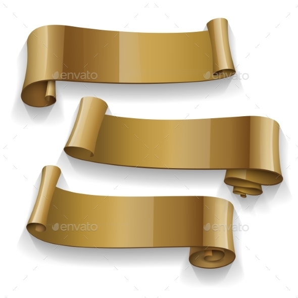 GraphicRiver Gold Glossy Ribbons Set 11273428