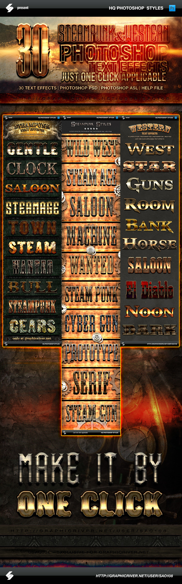 GraphicRiver Steampunk and Western Text Effects Bundle 11273453