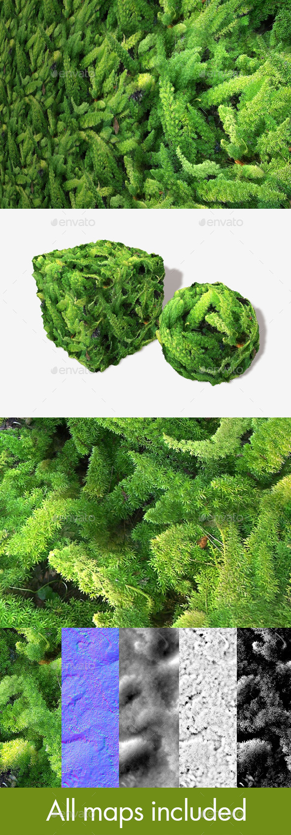 Furry Jungle Plants Seamless Texture - 3DOcean Item for Sale