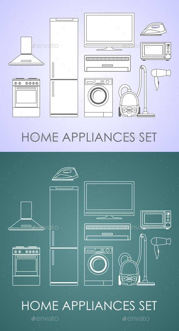 GraphicRiver Set of Household Appliances in Thin Line Style 11224284