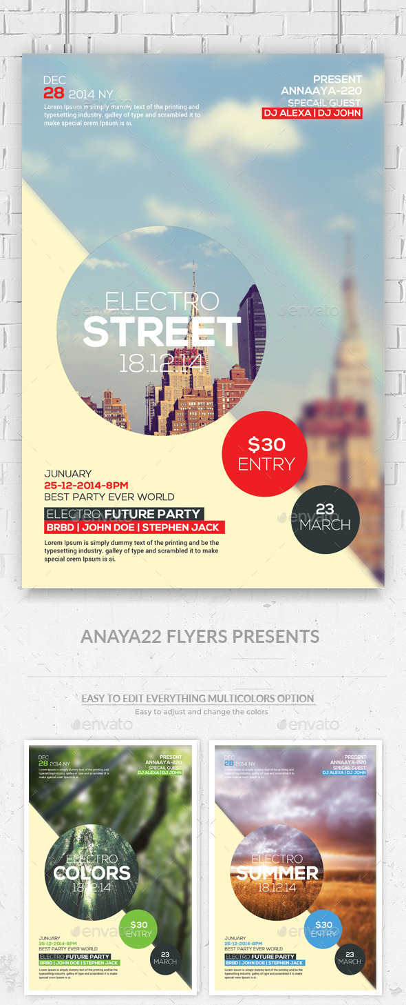 GraphicRiver Hipster Party Flyers Psd Template 11273911