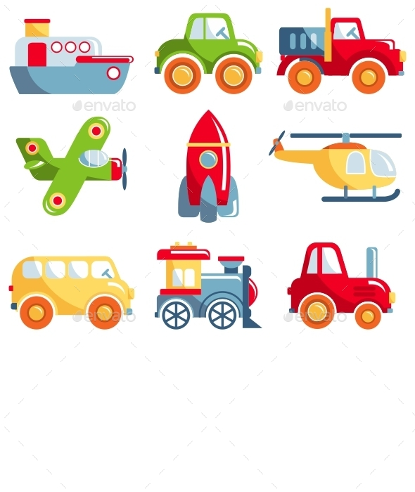 GraphicRiver Set of Toys Transportation 11226312