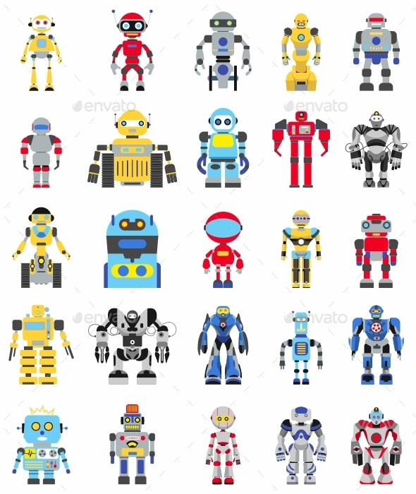 GraphicRiver Robots Set in Flat Style 11226358