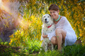 family pet dog outdoors with female owner - PhotoDune Item for Sale