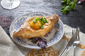 Khachapuri on plate with herbs - PhotoDune Item for Sale