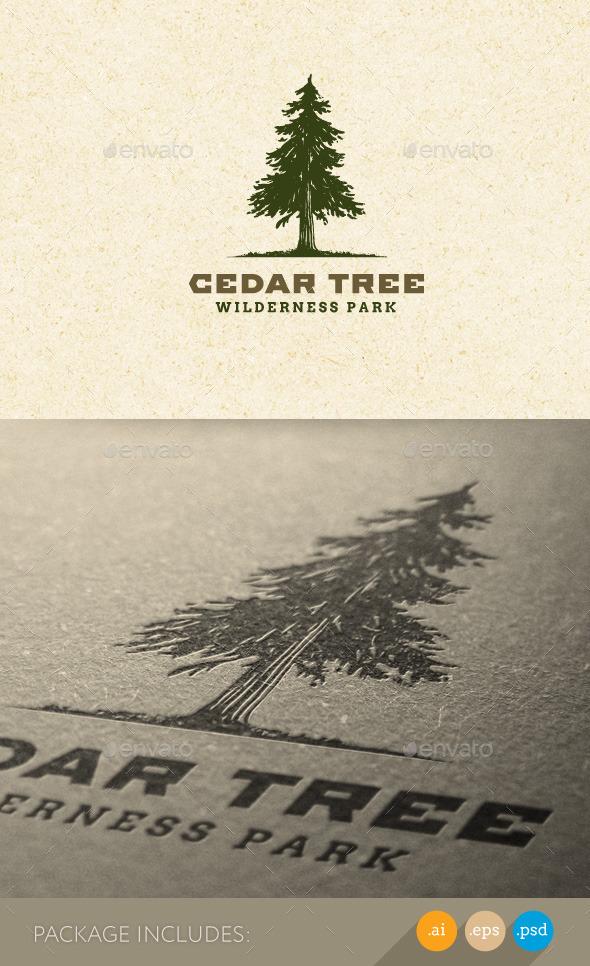GraphicRiver Cedar Tree Wilderness Park Nature Logo 11274261