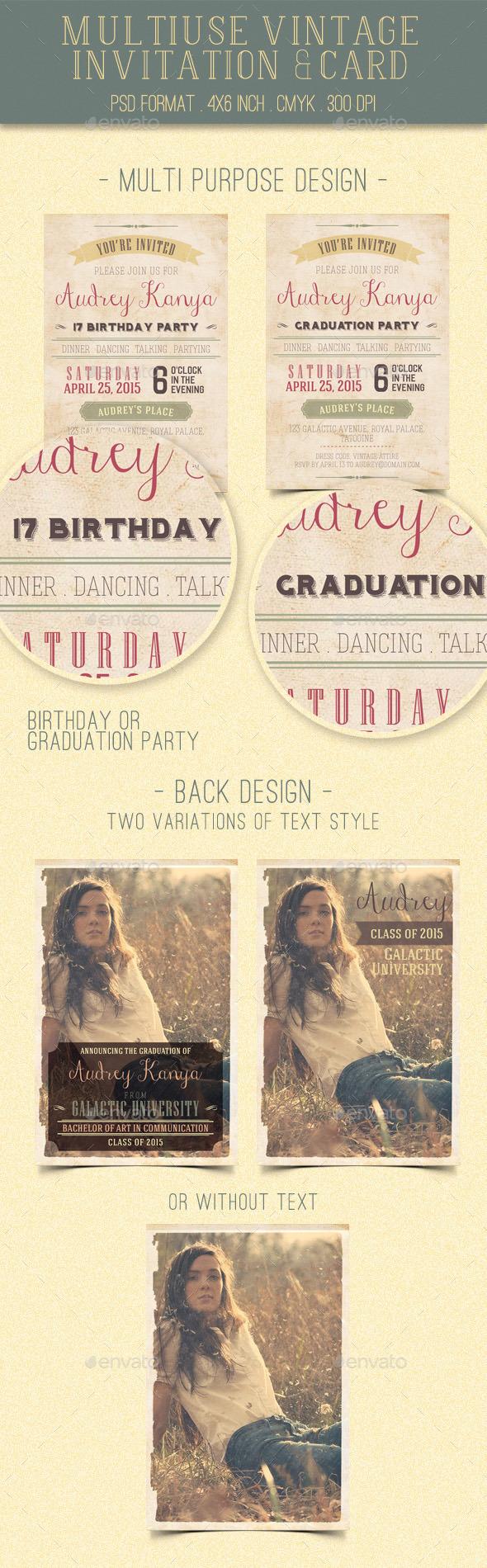 GraphicRiver Multiuse Vintage Invitation & Card 11274472