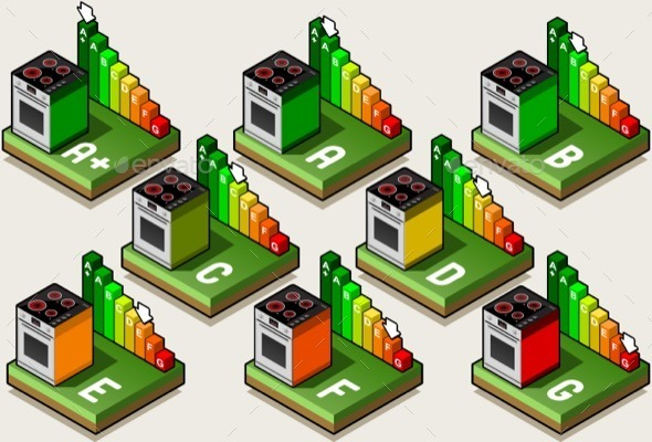 GraphicRiver Isometric Oven Energy Efficiency Classes 11274781