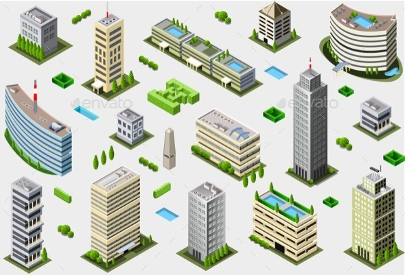 GraphicRiver Isometric Megalopolis Building Set 11274821