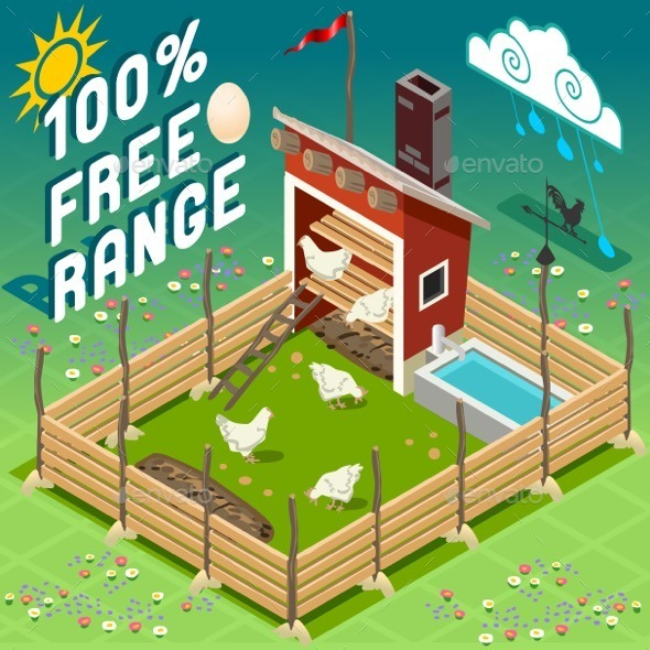 GraphicRiver Isometric Henhouse Free Range Farming 11274830