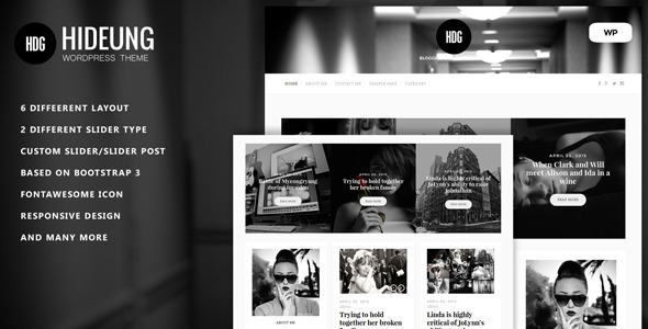 ThemeForest Hideung Responsive Wordpress Blog Theme 11213136