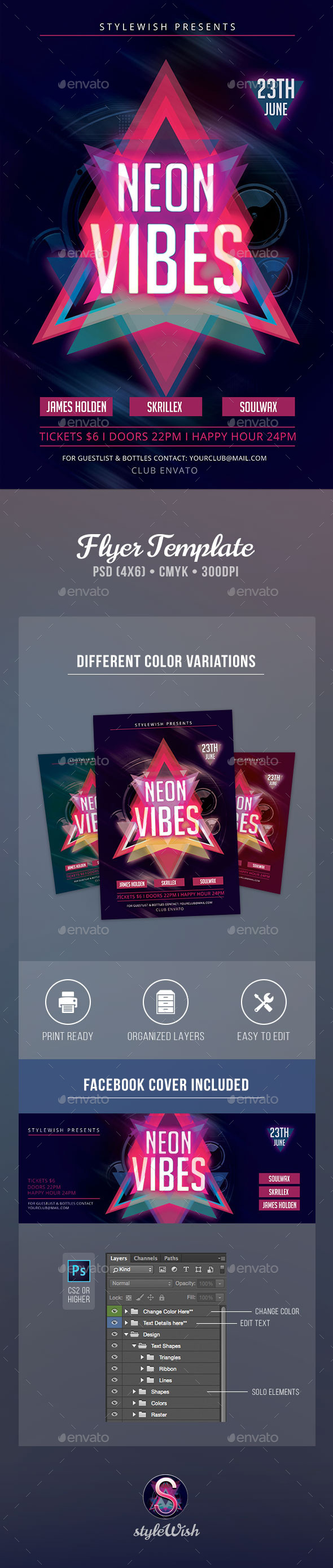 Neon Vibes Flyer + Fb Timeline - Clubs & Parties Events