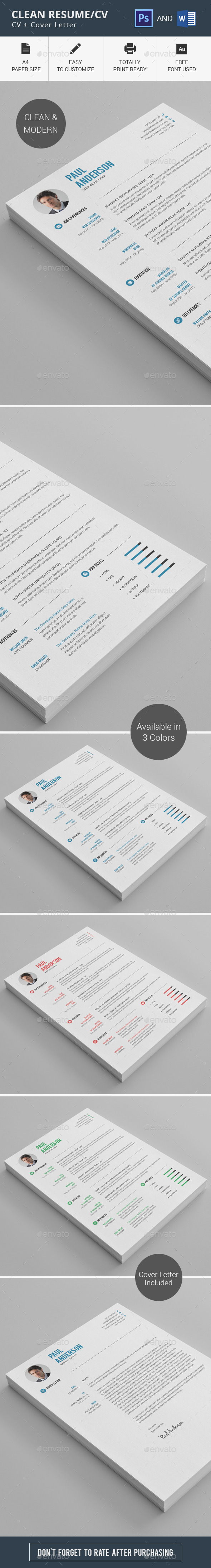 GraphicRiver Clean Resume CV 11274948
