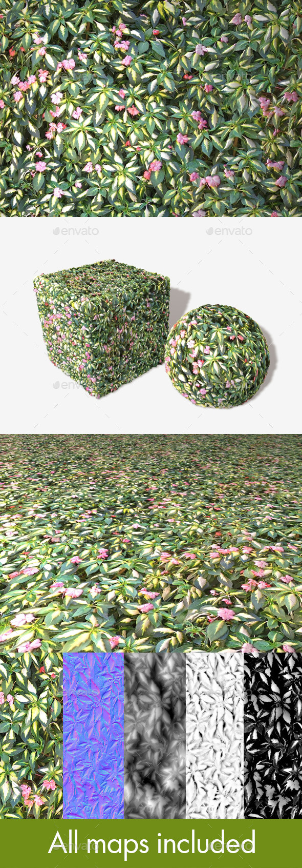 Shrub Flowers Seamless Texture - 3DOcean Item for Sale