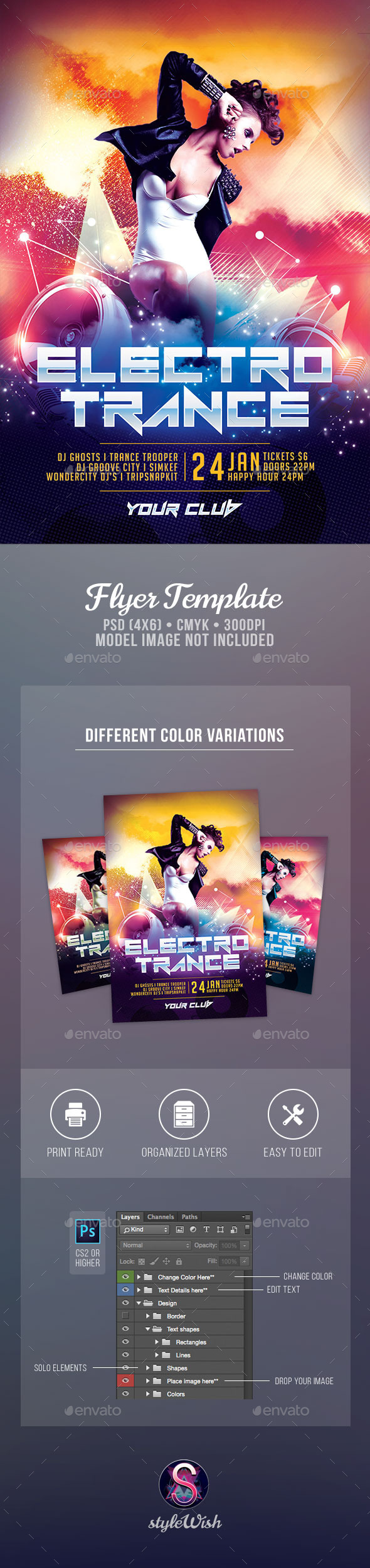 Electro Trance Flyer - Clubs & Parties Events