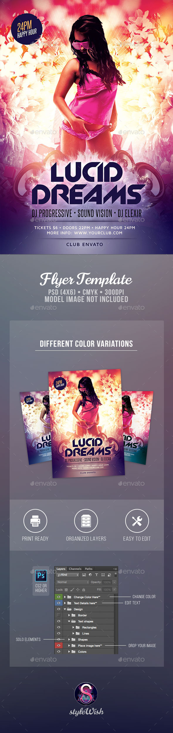 Lucid Dreams Flyer - Clubs & Parties Events