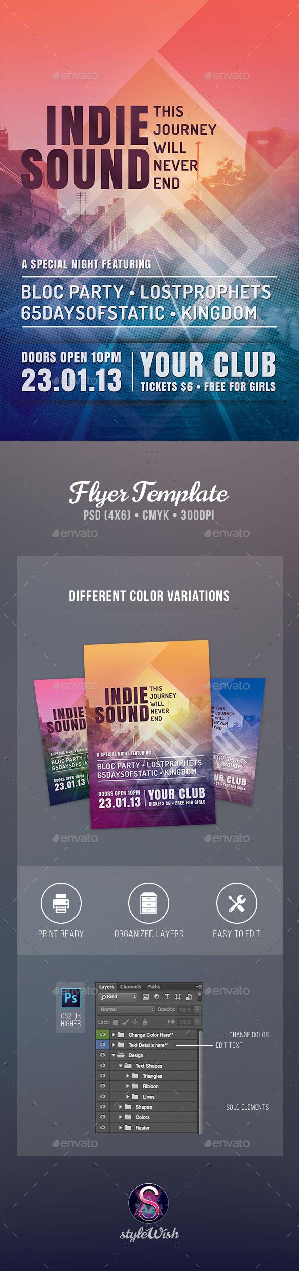 Indie Sound Flyer - Concerts Events