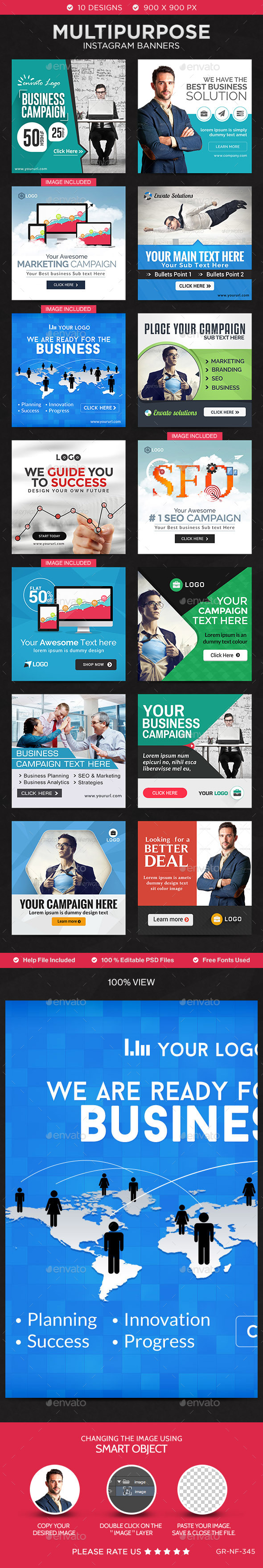 GraphicRiver Multipurpose Instagram Templates 14 Designs 11275942