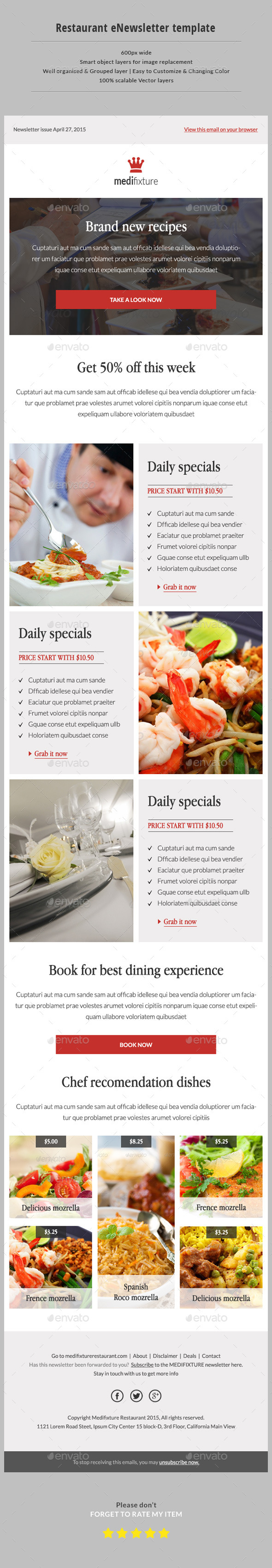 GraphicRiver Restaurant Email Newsletter 11276187