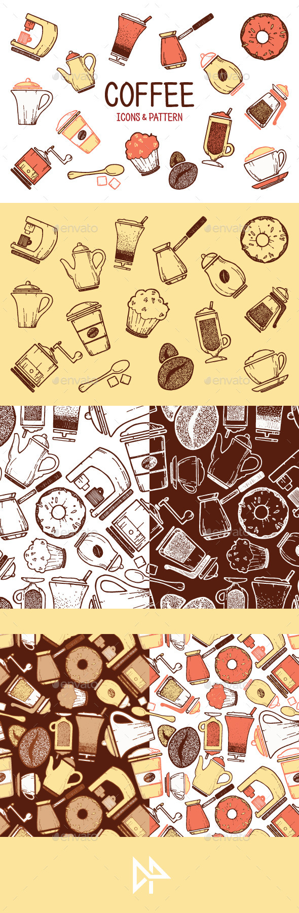 GraphicRiver Cooffe icons & pattern 11276380