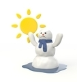 Snowman melting from the hot sun - PhotoDune Item for Sale