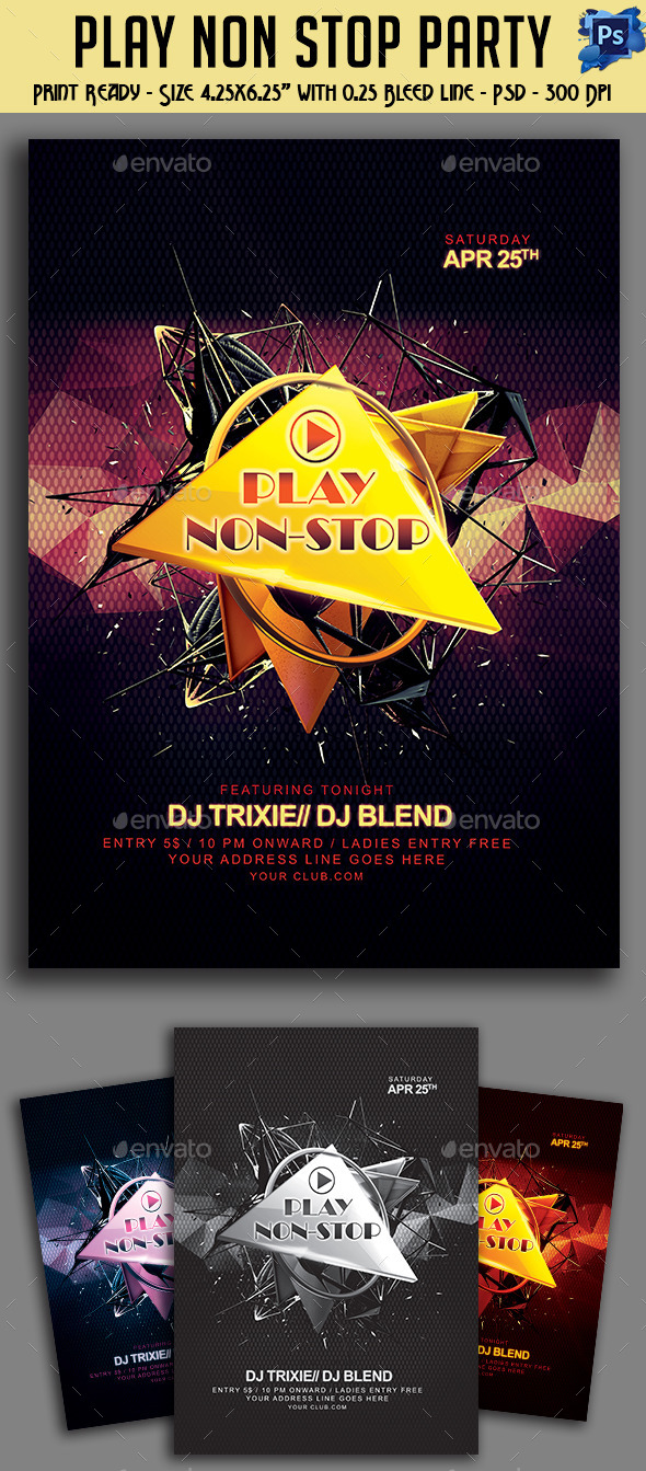 GraphicRiver Play Non-Stop Party Flyer 11151185