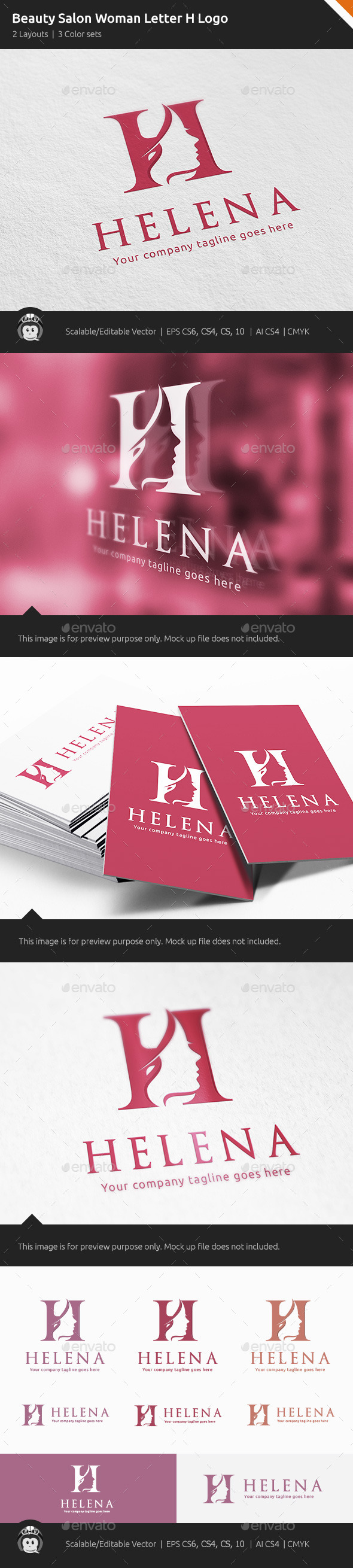 GraphicRiver Beauty Salon Woman Letter H Logo 11262899