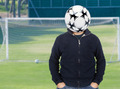 Young man with a soccer ball instead of the head - PhotoDune Item for Sale