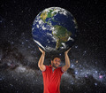 Man to lift Earth planet above head. - PhotoDune Item for Sale