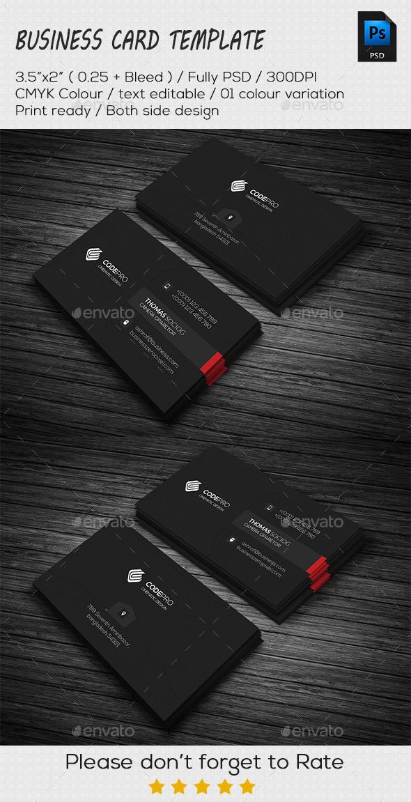 GraphicRiver Simply Dark Business Card 11253201