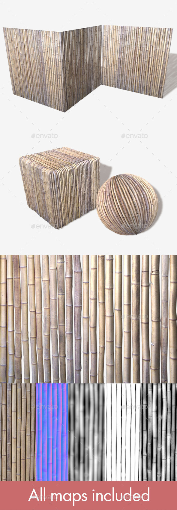 Bamboo Wall Seamless Texture - 3DOcean Item for Sale