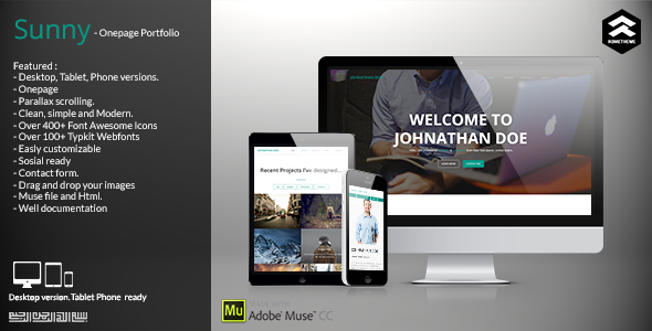 ThemeForest Sunny Onepage Portfolio Muse Template 11277534