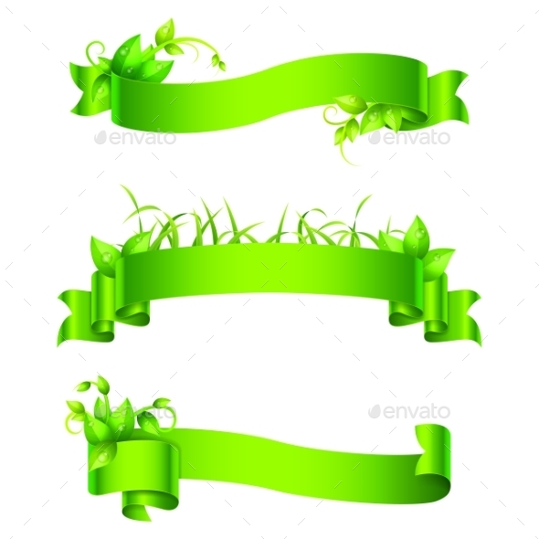 GraphicRiver Green Empty Ribbons and Banners 11278058