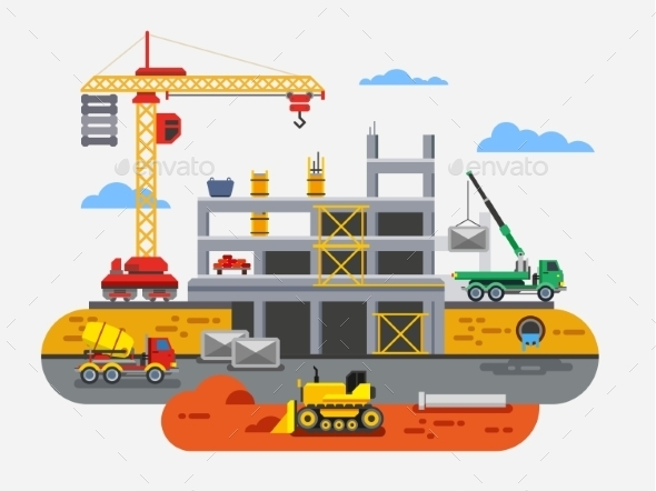 GraphicRiver Building Construction Flat Design 11278071